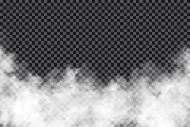 smoke clouds on transparent background. realistic fog or mist texture isolated on background. transparent smoke effect - smoke stock illustrations