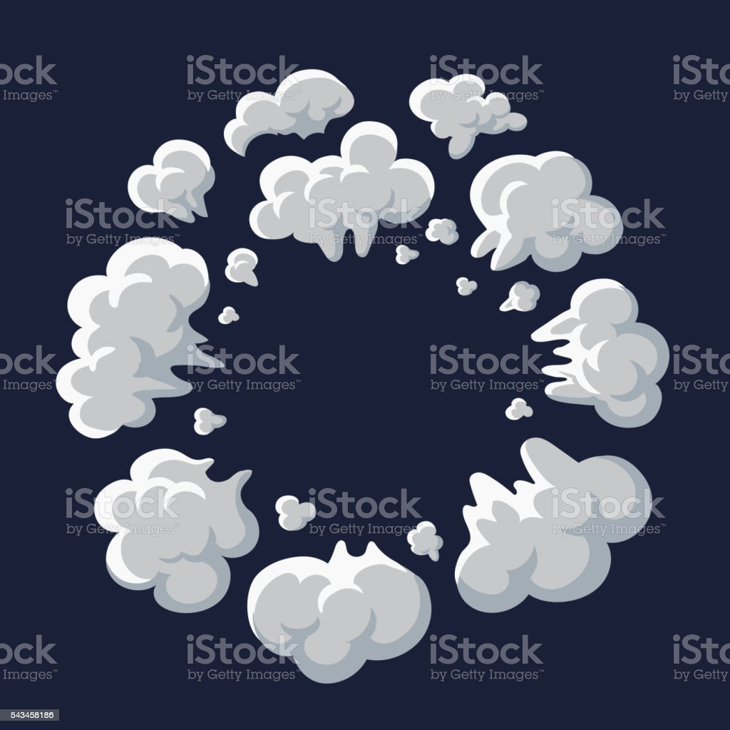 Smoke dust explosion cartoon frame vector art illustration