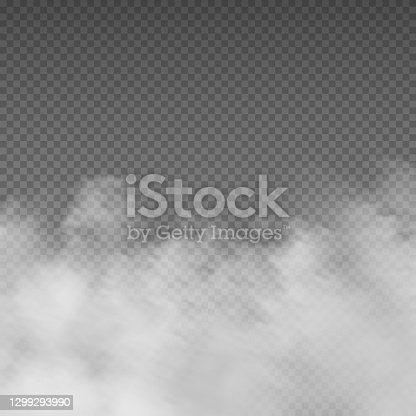 istock Smoke effect. Realistic white mist. Rising steam or gas on transparent background. Mysterious smog. Cloud of powder and dust, mockup for cloudy sky. Mystic fume. Vector decorative template 1299293990
