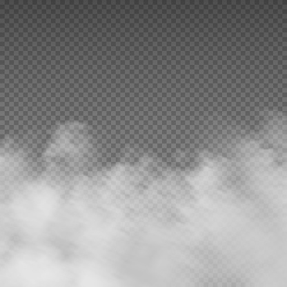 Smoke effect. Realistic white mist. Rising steam or gas on transparent background. Mysterious smog. Cloud of powder and dust, mockup for cloudy sky. Mystic fume. Vector decorative template