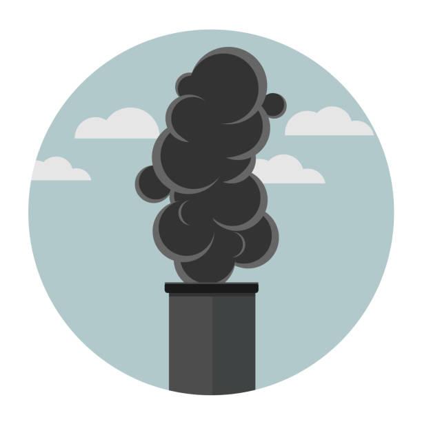 bildbanksillustrationer, clip art samt tecknat material och ikoner med rök platt design - co2