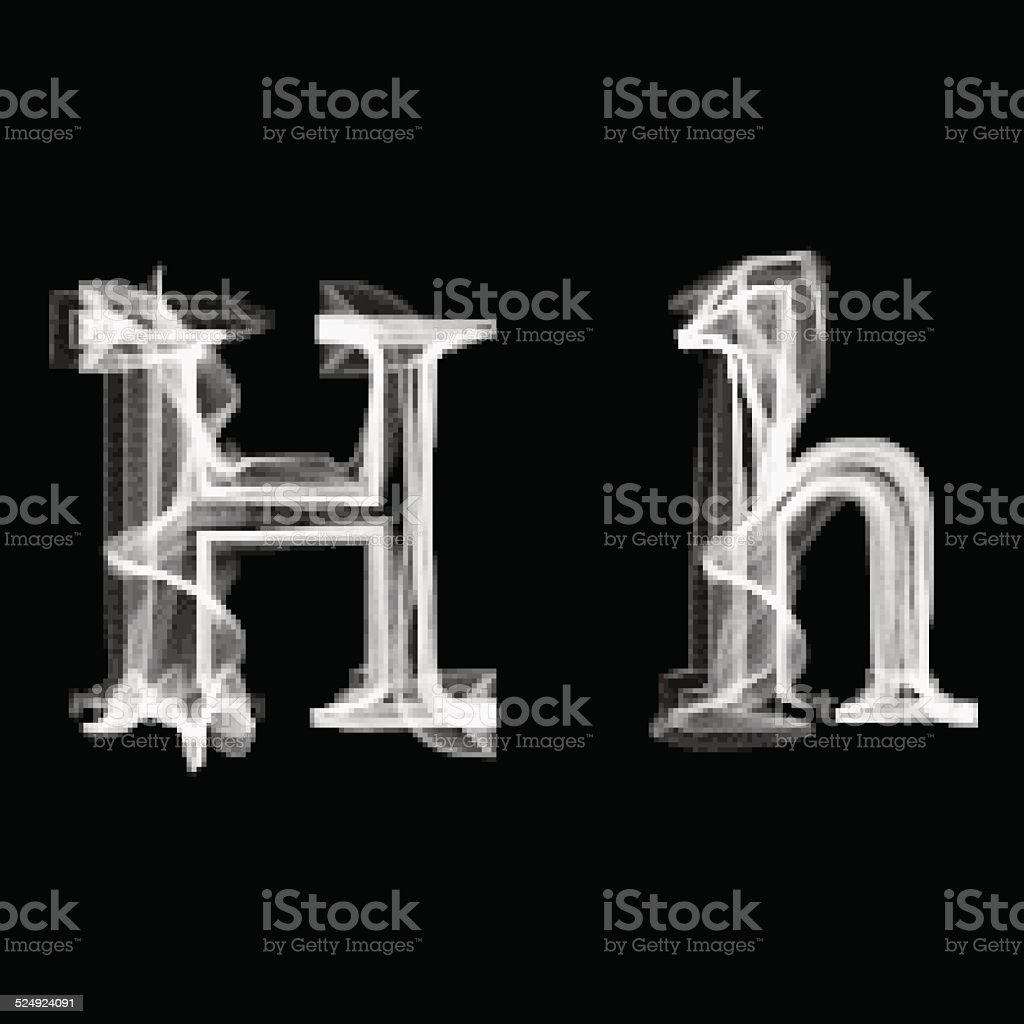 Smoke font. Letter H vector art illustration
