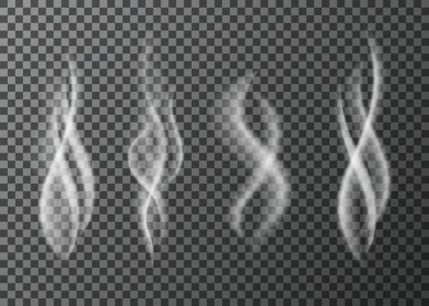 ilustrações de stock, clip art, desenhos animados e ícones de smoke  from a cup of  hot coffee or tea. - meat texture