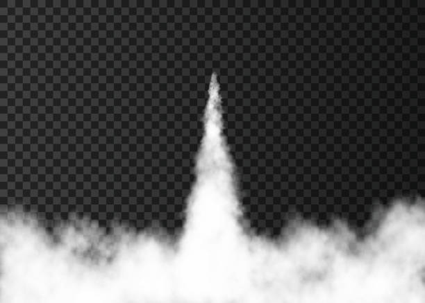 illustrations, cliparts, dessins animés et icônes de fumée du lancement de fusée spatiale isolée sur fond transparent. - décoller activité