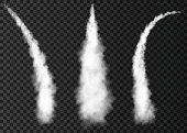 Smoke from space rocket  launch. Foggy trail airplane or jet. Plane condensation track isolated on transparent background.  Realistic vector texture.