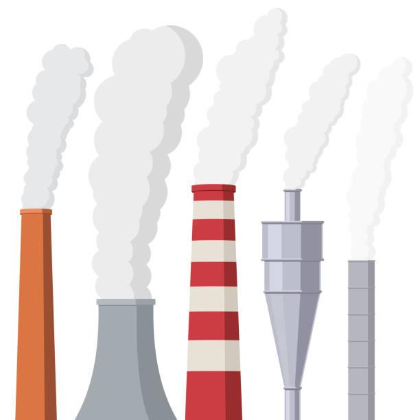 bildbanksillustrationer, clip art samt tecknat material och ikoner med rök från fabriken rören - skorsten