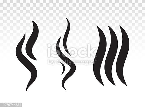 Smoke gas steam flame icon. Vector heat aroma logo. Smell or scent fumes shape for hot BBQ icon design.