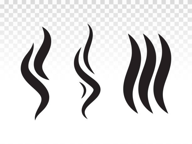 Smoke gas steam flame icon. Vector heat aroma logo. Smell or scent fumes shape for hot BBQ icon design. Smoke gas steam flame icon. Vector heat aroma logo. Smell or scent fumes shape for hot BBQ icon design. scented stock illustrations