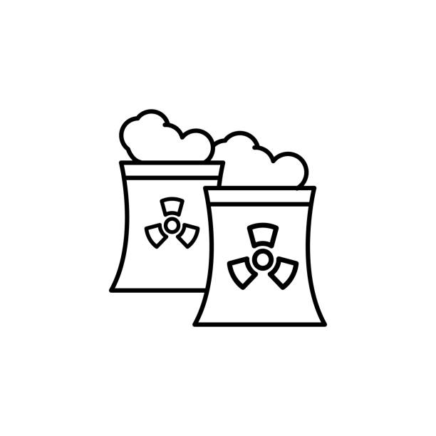 illustrazioni stock, clip art, cartoni animati e icone di tendenza di smoke industry nuclear icon. simple line outline vector of nuclear energy icons for ui and ux website or mobile application - reattore nucleare
