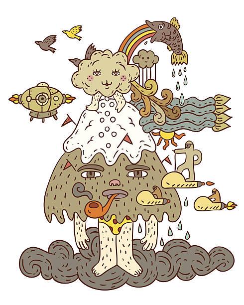 スモーク山 - 漫画のモンスター点のイラスト素材/クリップアート素材/マンガ素材/アイコン素材