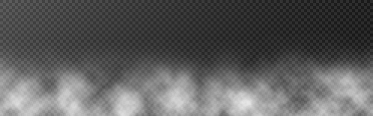 Smoke or fog wide banner template. White clouds on transparent backdrop. Smog effect or mist. Realistic cloud texture for brochure, poster or web. Vector illustration