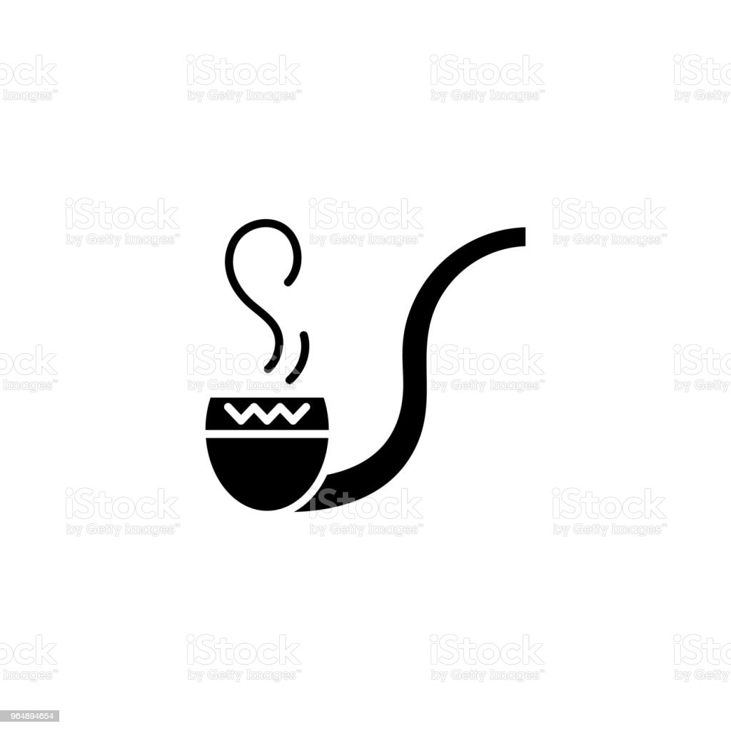 Smoke pipe black icon concept. Smoke pipe flat  vector symbol, sign, illustration. royalty-free smoke pipe black icon concept smoke pipe flat vector symbol sign illustration stock vector art & more images of addiction