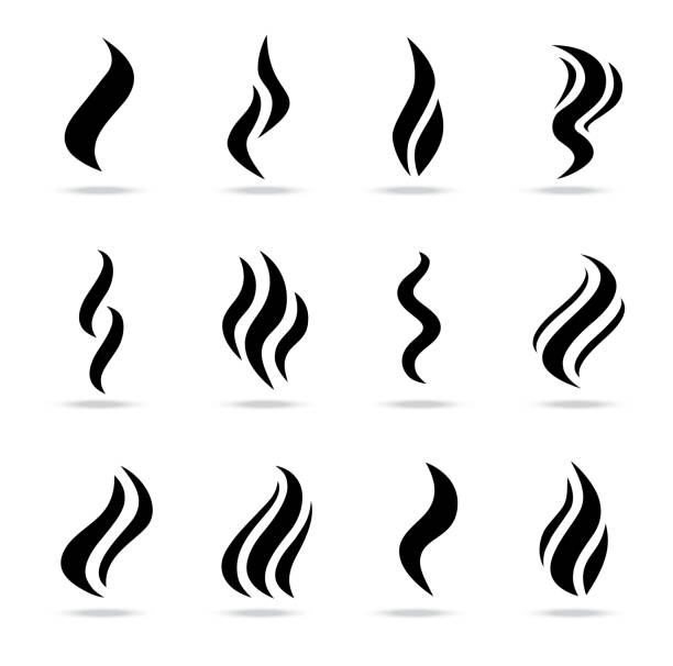 smoke puff vector icon set illustration isolated on a white background - dym stock illustrations
