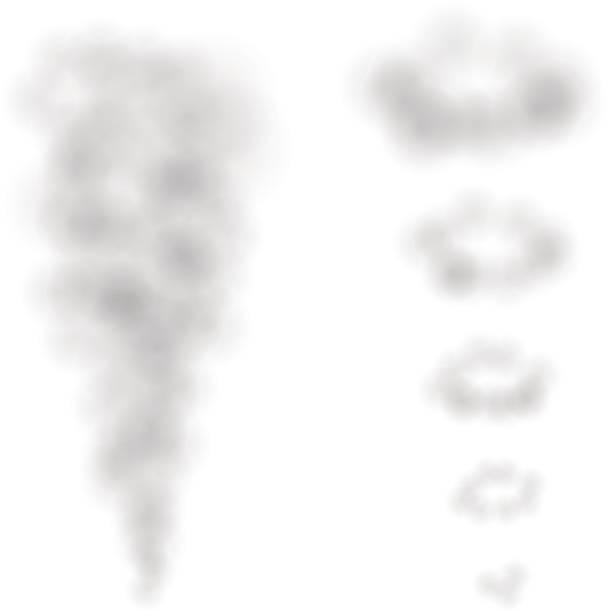 ilustrações de stock, clip art, desenhos animados e ícones de smoke puffs and rings - exhaust white background