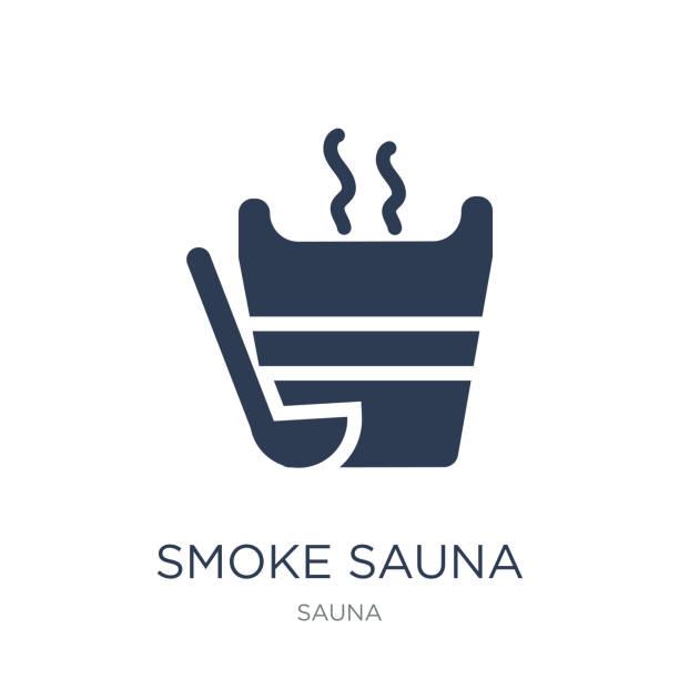 stockillustraties, clipart, cartoons en iconen met rook sauna pictogram. trendy platte vector rook sauna pictogram op witte achtergrond uit sauna collectie - sauna