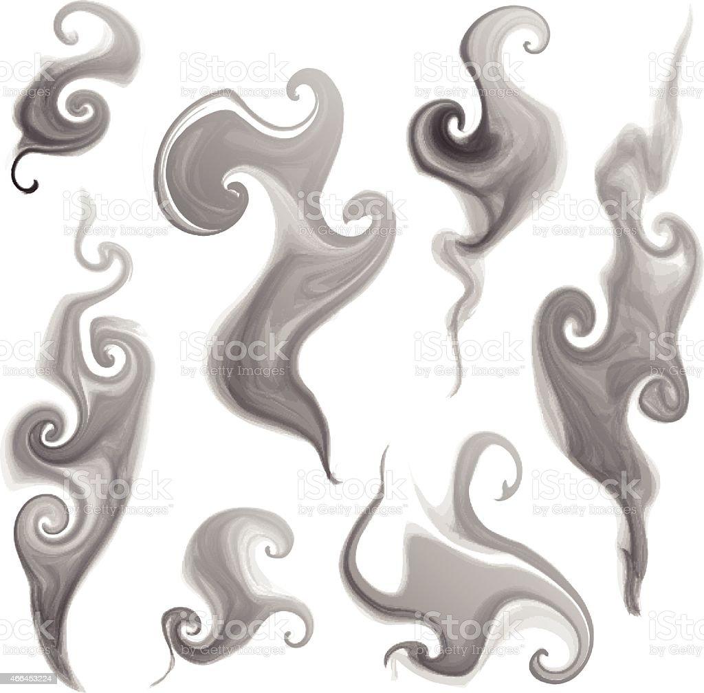 smoke set vector art illustration