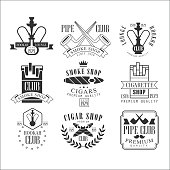 Smoke Shop Vintage Black And White Emblems. Isolated On White Background.