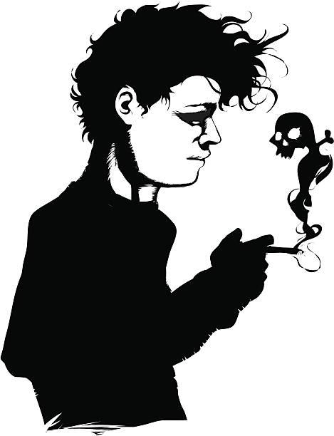 Smoke skull vector art illustration