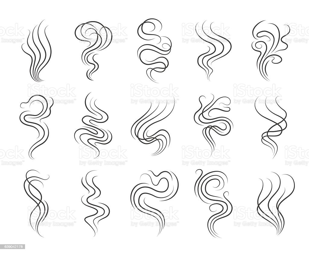Smoke smell line icons vector art illustration