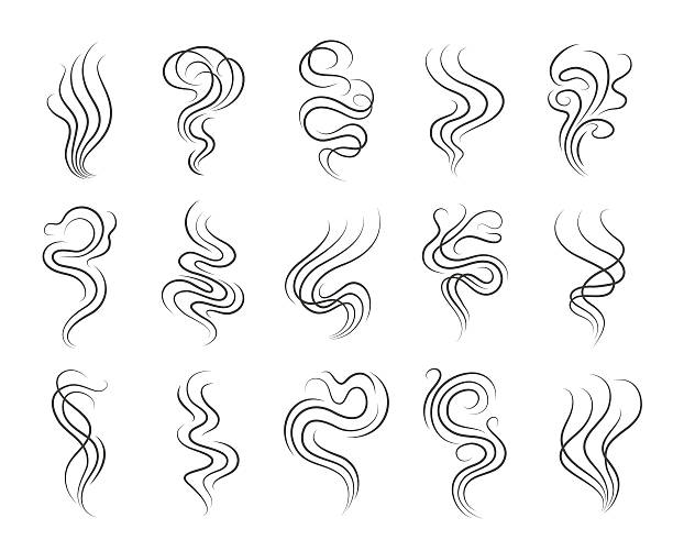 Smoke smell line icons Smoke smell line icons. Smoking and steaming vector signs scented stock illustrations