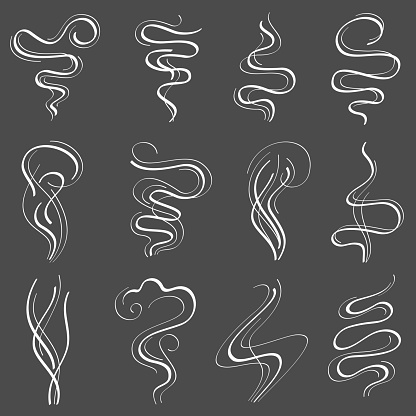 Smoke steam vector set. Smell and fumes line icons isolated on white