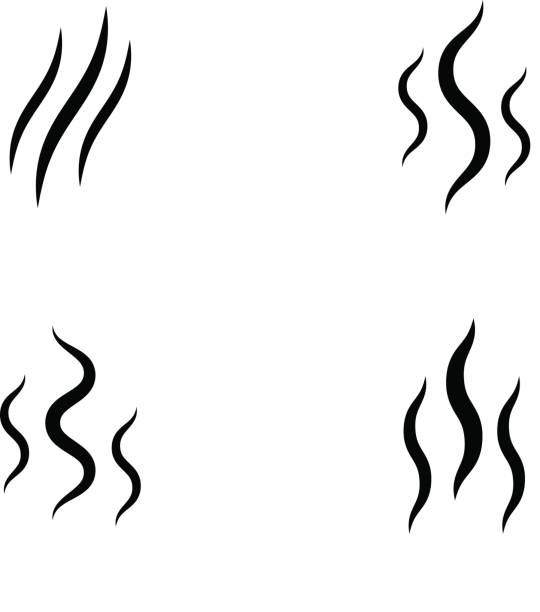 smoke stream vector aroma icon smell set smoke stream vector aroma icon smell set  vapor lines scented stock illustrations