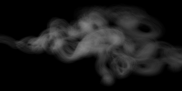 Smoke vector texture on black background, real transparency. Beautiful soft smoke cigarette effect. Smooth white gray smoke on transparent background. Cloudy smoke concept for design projects.