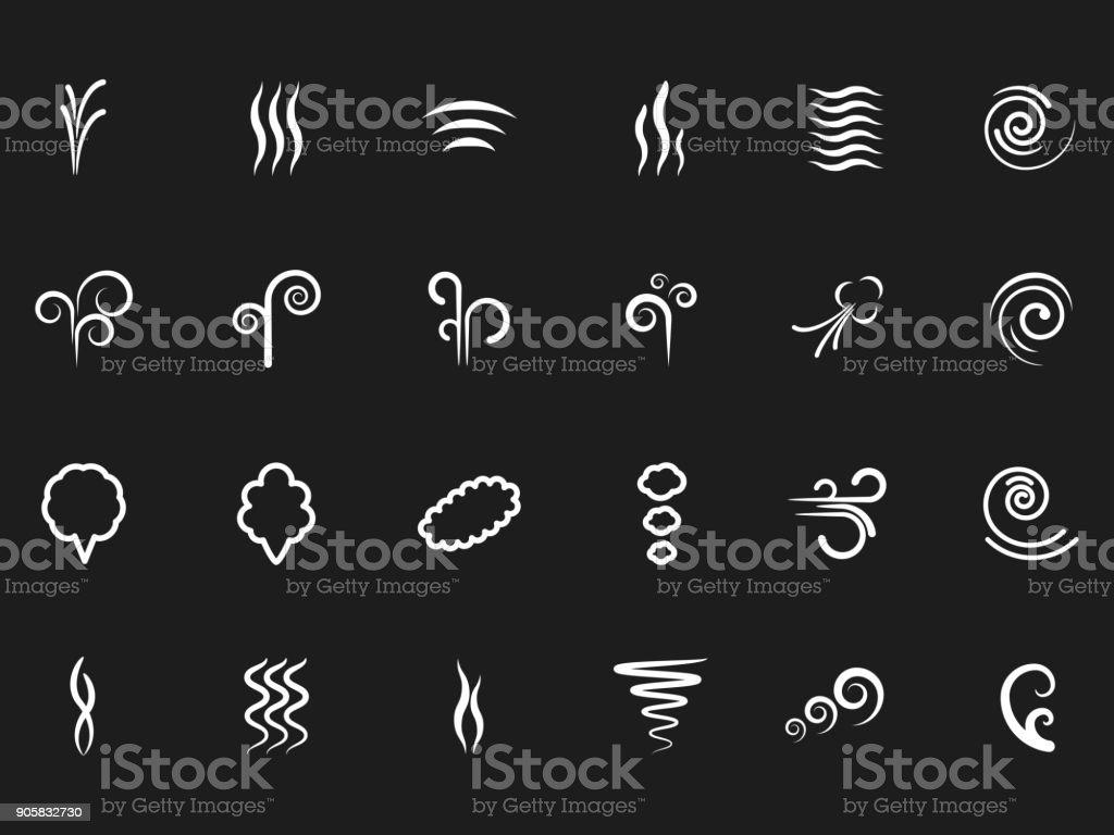 Duman, basit simgeler siyah zemin üzerinde Rüzgar vektör sanat illüstrasyonu
