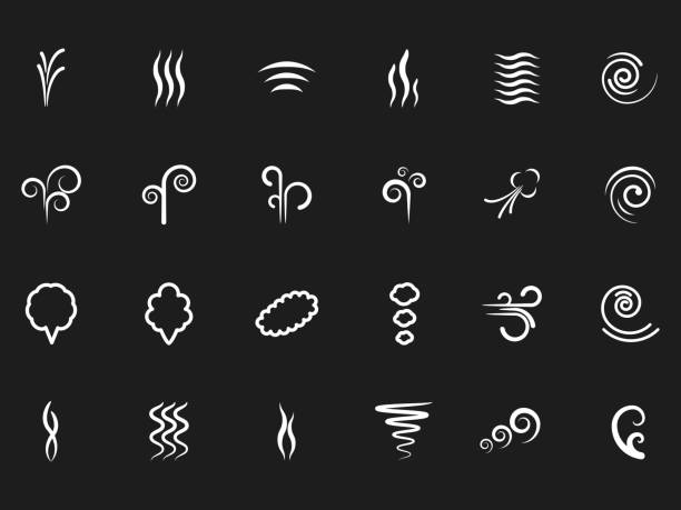 Smoke, wind simple icons on black backdrop Smoke, wind simple icons on black backdrop. Vector smoke wave line, mist and steam flow illustration scented stock illustrations
