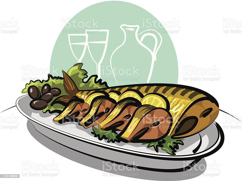 smoked fish mackarel, lemons and olives vector art illustration