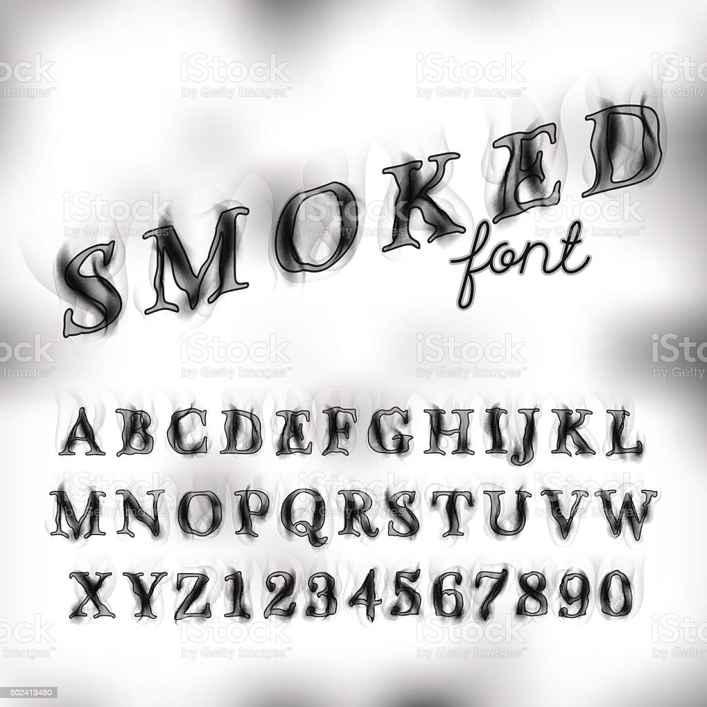 Smoked font set vector art illustration