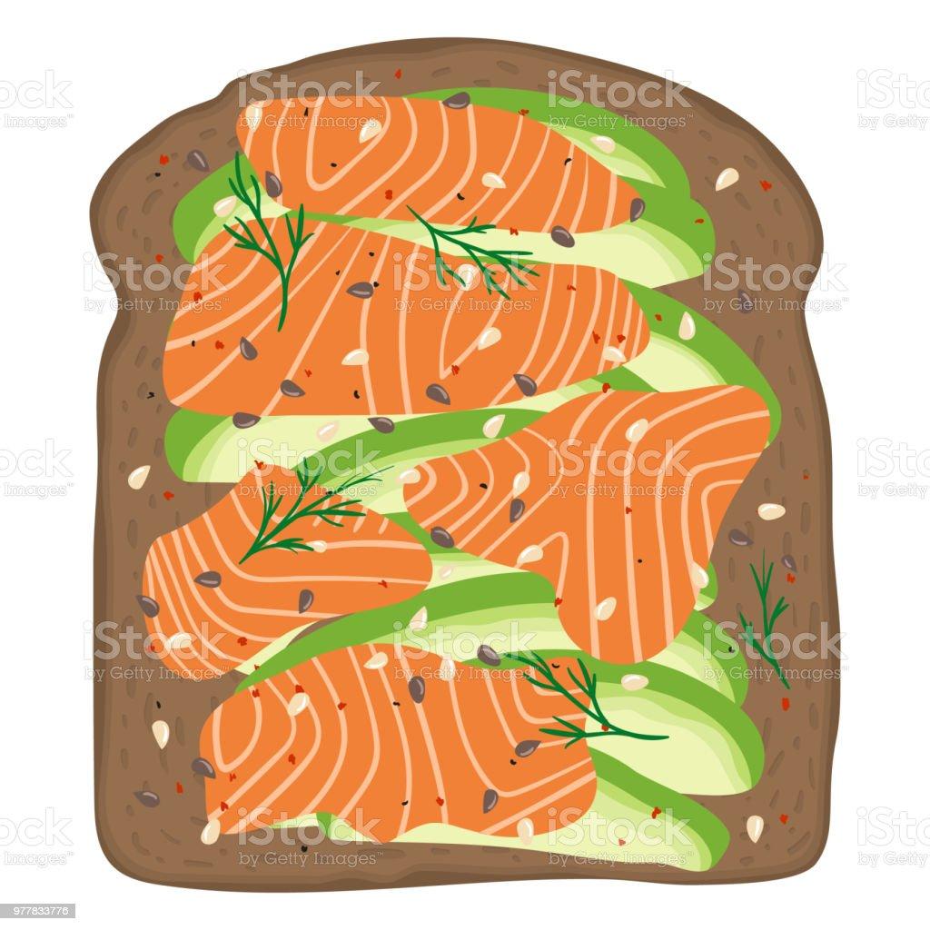 Smoked salmon and avocado on dark rye toast bread. Delicious avocado and lox sandwich. Vector illustration. vector art illustration