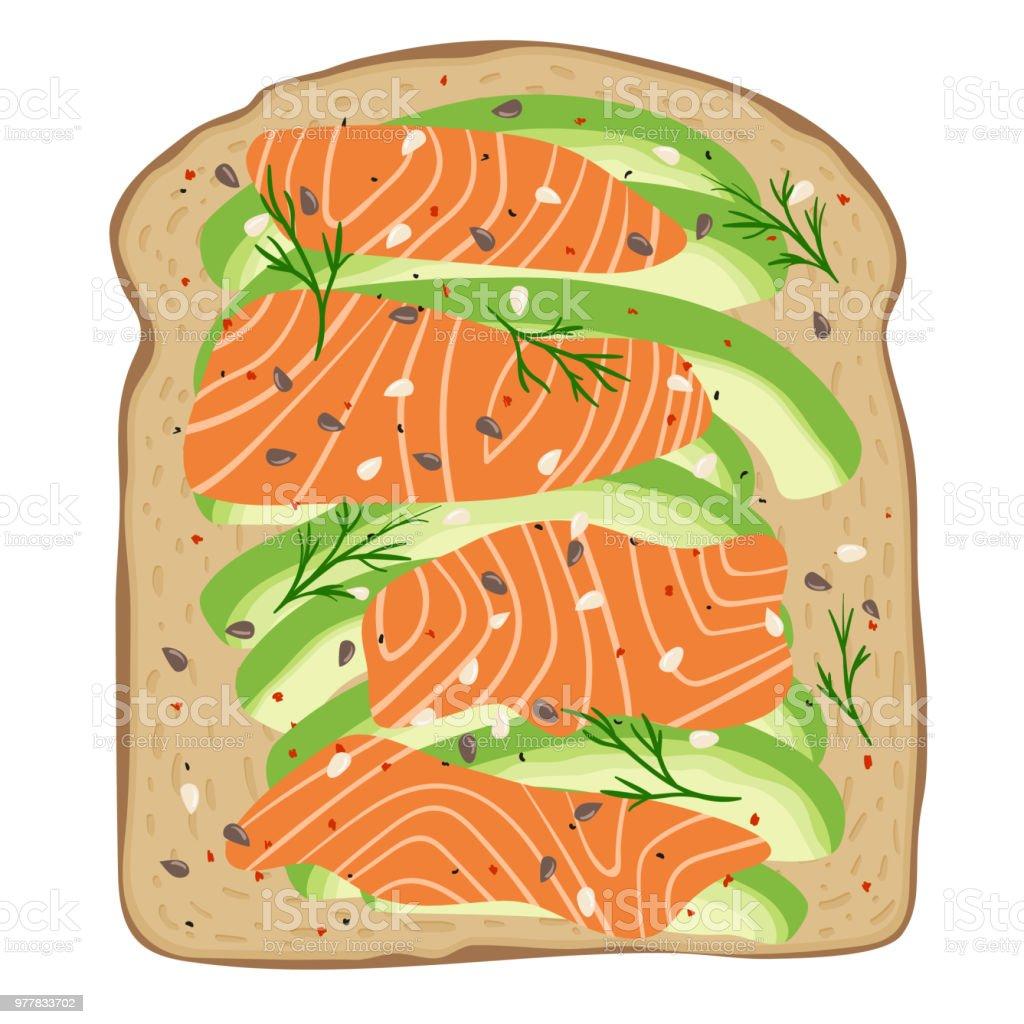 Smoked salmon and avocado on spelt toast bread. Delicious avocado and lox sandwich. Vector illustration. vector art illustration