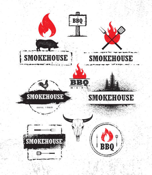 illustrations, cliparts, dessins animés et icônes de smokehouse barbecue viande sur feu local restaurant menu vector design element. - barbecue
