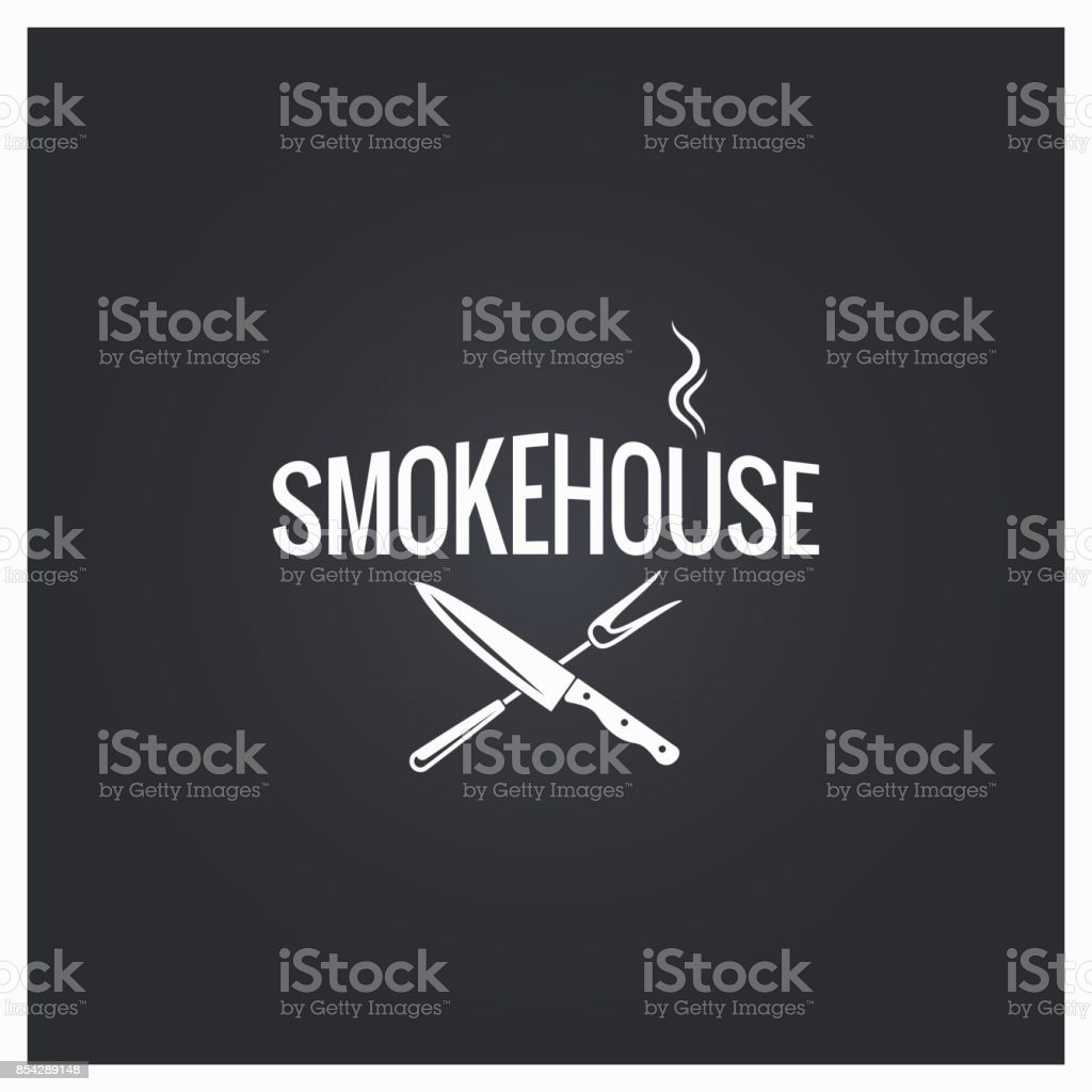 smokehouse cooking logo design background vector art illustration