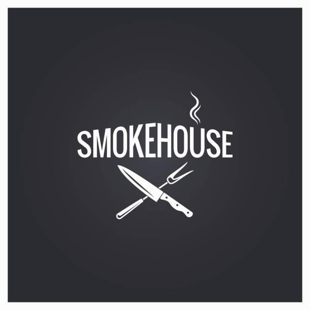 ilustrações, clipart, desenhos animados e ícones de fundo de fumeiro cozedura logotipo - churrasco