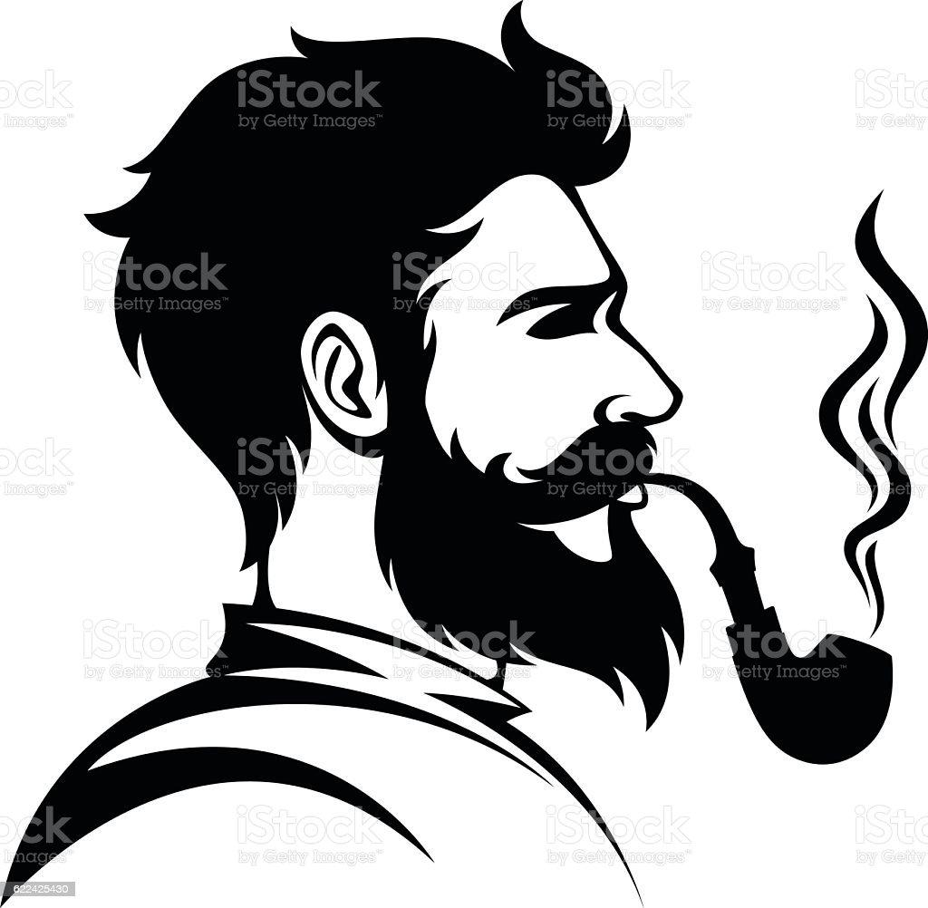 Smoker head vector art illustration