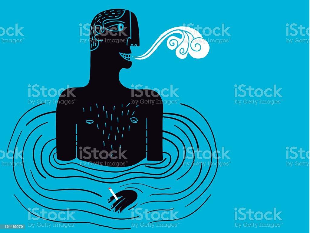 Курильщик в воде векторная иллюстрация