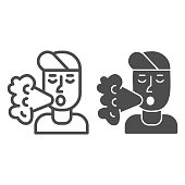 Smoker line and solid icon, Smoking concept, Smoker silhouette sign on white background, Smoking man icon in outline style for mobile concept and web design. Vector graphics