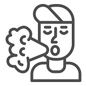 Smoker line icon, Smoking concept, Smoker silhouette sign on white background, Smoking man icon in outline style for mobile concept and web design. Vector graphics