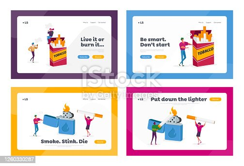Smokers and Smoking Addiction Landing Page Template Set. Tiny People Smoke at Huge Cigarettes Box and Lighter in Public Place. Addict Male and Female Characters Bad Habit. Cartoon Vector Illustration