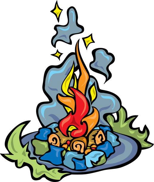 Smokey Camp Fire with shining embers vector art illustration