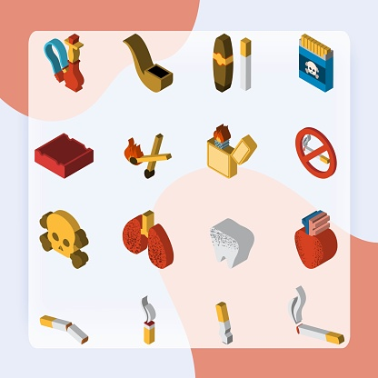Smoking 3d isometric icon set with matches cigar pipe isolated vector