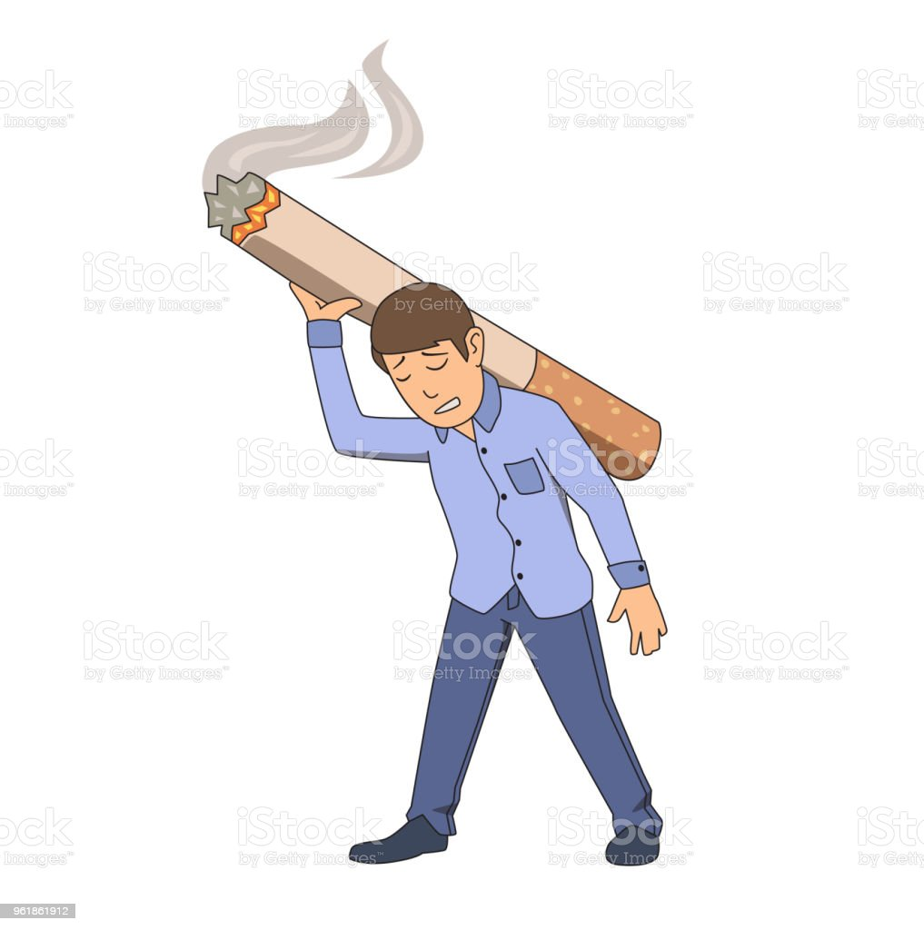 Smoking addiction. Exhausted man dragging big cigarette on his back. Vector illustration. Isolated on white background. vector art illustration
