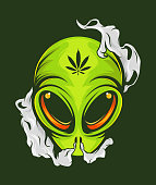 istock Smoking Alien poster for for t-shirt print. Vector fashion illustration . 1256512913