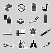 smoking and cigarettes simple black stickers set eps10