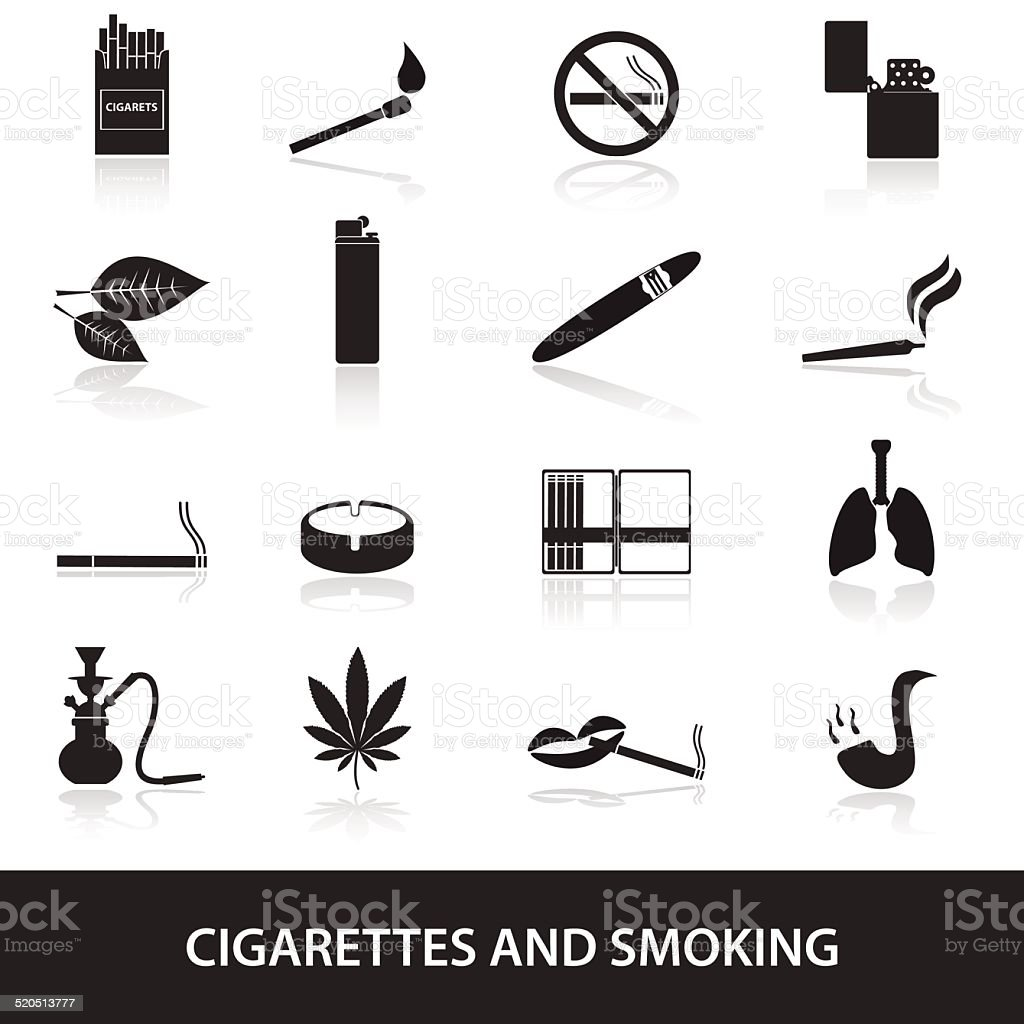smoking and cirarettes simple black icons set eps10 vector art illustration