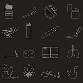 smoking and cirarettes simple outline icons set eps10