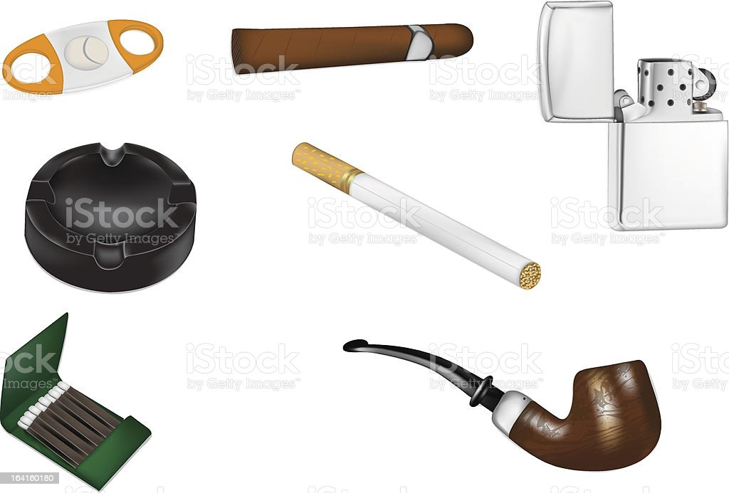 Smoking and Tobacco realistic vector illustrations royalty-free stock vector art