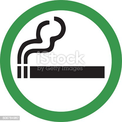 Vector illustration of smoking area sign.